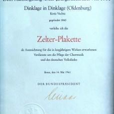 Urkunde zur Zelterplakette
